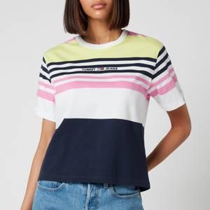 Tommy Jeans Women's TJW Boxy Crop Linear T-Shirt - Pink Daisy STRIPE