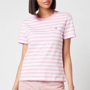 Tommy Jeans Women's TJW Tommy Classics Stripe T-Shirt - Pink Daisy