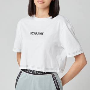 Calvin Klein Performance Women's Open Back Cropped Short Sleeve T-Shirt - Bright White