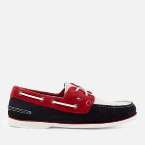 Tommy Hilfiger Men's Classic Suede Boat Shoes - Red White Blue