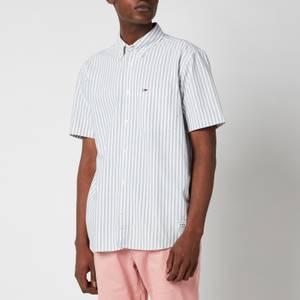 Tommy Jeans Men's Striped Short Sleeve Shirt - Cinder Blue/White