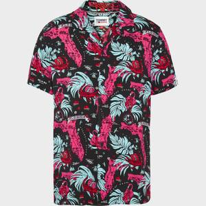 Tommy Jeans Men's Miami Print Camp Collar Short Sleeve Shirt - Black Miami AOP