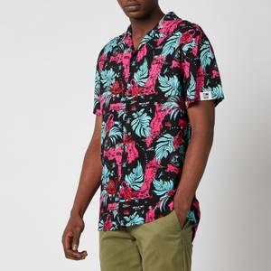 Tommy Jeans Men's Miami Print Camp Collar Short Sleeve Shirt - Black Miami AOP