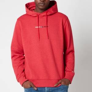 Tommy Jeans Men's Straight Logo Hoodie - Deep Crimson HTR