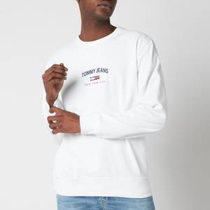 Tommy Jeans Men's Timeless Logo Crewneck Sweatshirt - White