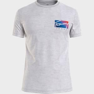Tommy Jeans Men's Script Box Logo T-Shirt - Silver Grey HTR