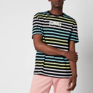 Tommy Jeans Men's Multi Stripe Curved Logo T-Shirt - Black Multi