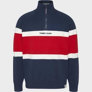 Tommy Jeans Men's Colourblock Zip Mock Neck Sweatshirt - Twilight Navy/Multi