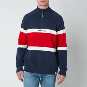 Tommy Jeans Men's Colourblock Zip Mock Neck Sweatshirt - Twilight Navy/Multi