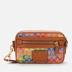 Coach Men's Academy Cross Body Bag - Rainbow Signature Canvas