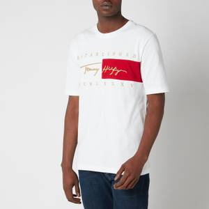 Tommy Hilfiger Men's Relaxed Fit Signature Flag T-Shirt - White