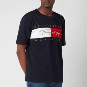 Tommy Hilfiger Men's Relaxed Fit Signature Flag T-Shirt - Desert Sky