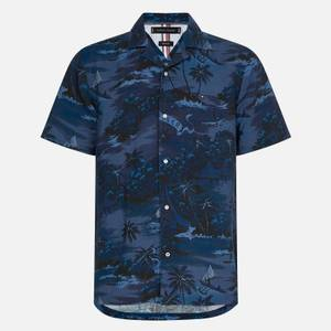 Tommy Hilfiger Men's Hawaiian Print Short Sleeve Shirt - Tonal Blues