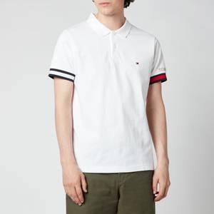 Tommy Hilfiger Men's Flag Cuff Slim Fit Polo Shirt - White
