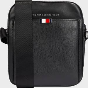 Tommy Hilfiger Men's Business Leather Mini Reporter Bag - Black