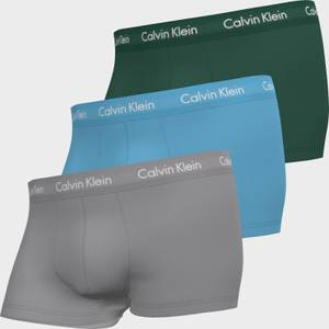 Calvin Klein Men's Cotton Stretch Low Rise 3 Pack Trunks with Contrast Waistband - Jade Sea/Sky High/Sleek Silver