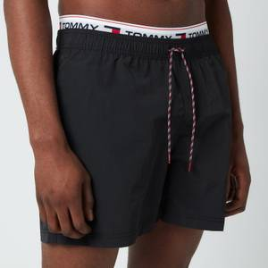 Tommy Hilfiger Men's Signature Rib Drawstring Swimshorts - Black