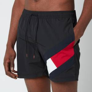Tommy Hilfiger Men's Signature Flag Medium Length Drawstring Swimshorts - Black