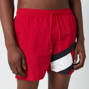 Tommy Hilfiger Men's Signature Flag Medium Length Drawstring Swimshorts - Primary Red