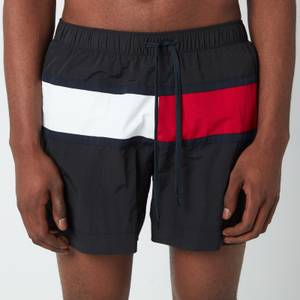 Tommy Hilfiger Men's Big Flag Medium Length Drawstring Swimshorts - Black