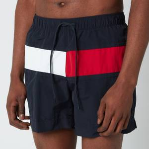 Tommy Hilfiger Men's Big Flag Medium Length Drawstring Swimshorts - Desert Sky