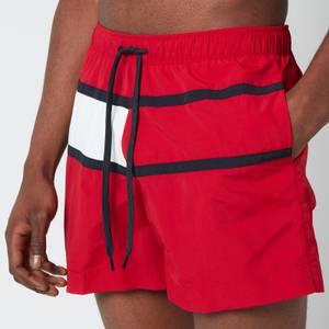 Tommy Hilfiger Men's Big Flag Medium Length Drawstring Swimshorts - Primary Red