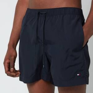 Tommy Hilfiger Men's Small Flag Medium Length Drawstring Swimshorts - Desert Sky