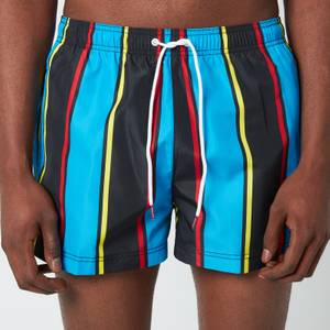 Tommy Hilfiger Men's Archive Stripe Short Length Drawstring Swimshorts - Tommy Archive Stipe Black