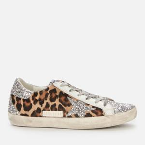 Golden Goose Deluxe Brand Women's Superstar Horsy Leopard Print Trainers - Silver/Brown/Black