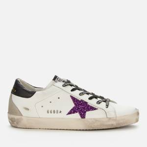 Golden Goose Deluxe Brand Women's Superstar Leather Trainers - White/Purple/Black