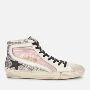 Golden Goose Deluxe Brand Women's Slide Leather Hi-Top Trainers - Salmon Pink/Silver/Ice
