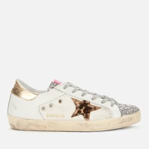 Golden Goose Deluxe Brand Women's Superstar Leather/Canvas Trainers - White/Silver/Beige