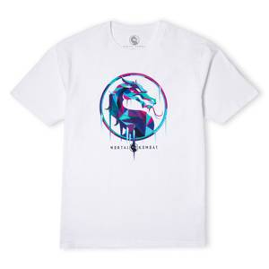 Mortal Kombat Blue Logo Oversized Heavyweight T-Shirt - Wit