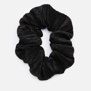 Ganni Women's Pleated Satin Scrunchie - Black