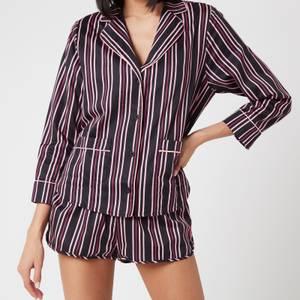 Les Girls Les Boys Women's Girls PJ Top - Black Stripe