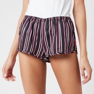 Les Girls Les Boys Women's Woven Shorts - Black Stripe