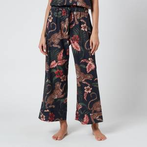 Desmond & Dempsey Women's Soleia Wide Leg Trousers - Navy