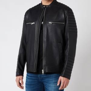 BOSS Casual Men's Jakoby Leather Jacket - Black