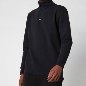 BOSS Casual Men's Zapper Half Zip Sweatshirt - Black