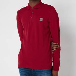 BOSS Casual Men's Passerby Long Sleeve Polo Shirt - Dark Red