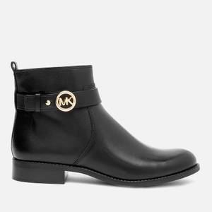 MICHAEL Michael Kors Women's Abigail Leather Flat Ankle Boots - Black