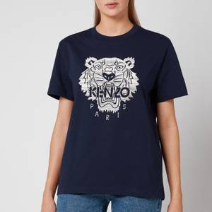 KENZO Women's Full Embroidered Loose T-Shirt - Navy Blue