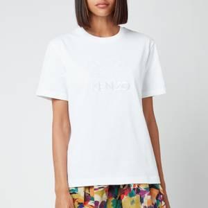 KENZO Women's Loose T-Shirt Embossed Tiger - White