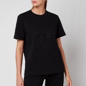 KENZO Women's Loose T-Shirt Embossed Tiger - Black