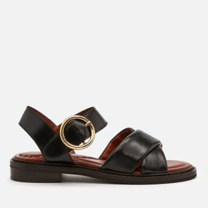 See By Chloé Women's Lyna Leather Flat Sandals - Black