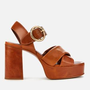 See By Chloé Women's Lyna Leather Platform Heeled Sandals - Light Brown