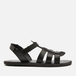 Walk London Men's Leather Gladiator Sandals - Black