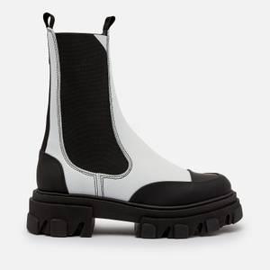 Ganni Women's Leather Chelsea Boots - Egret