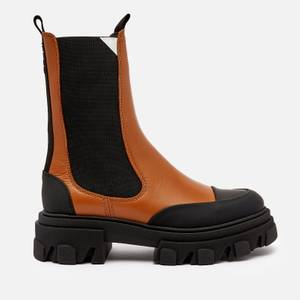 Ganni Women's Leather Chelsea Boots - Tigers Eye