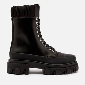 Ganni Women's Brush Off & Nylon Lace Up Boots - Black